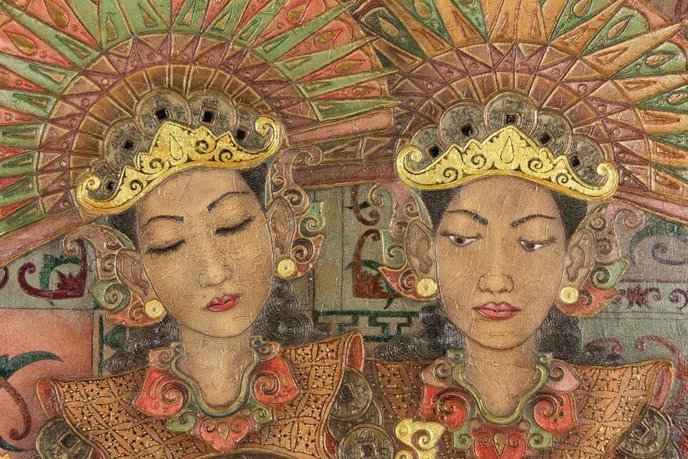 Trawan, Balinese Painting of Dancers, Oil - 4