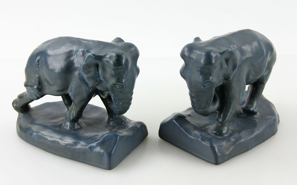Pair Of  Rookwood Pottery Elephant Bookends