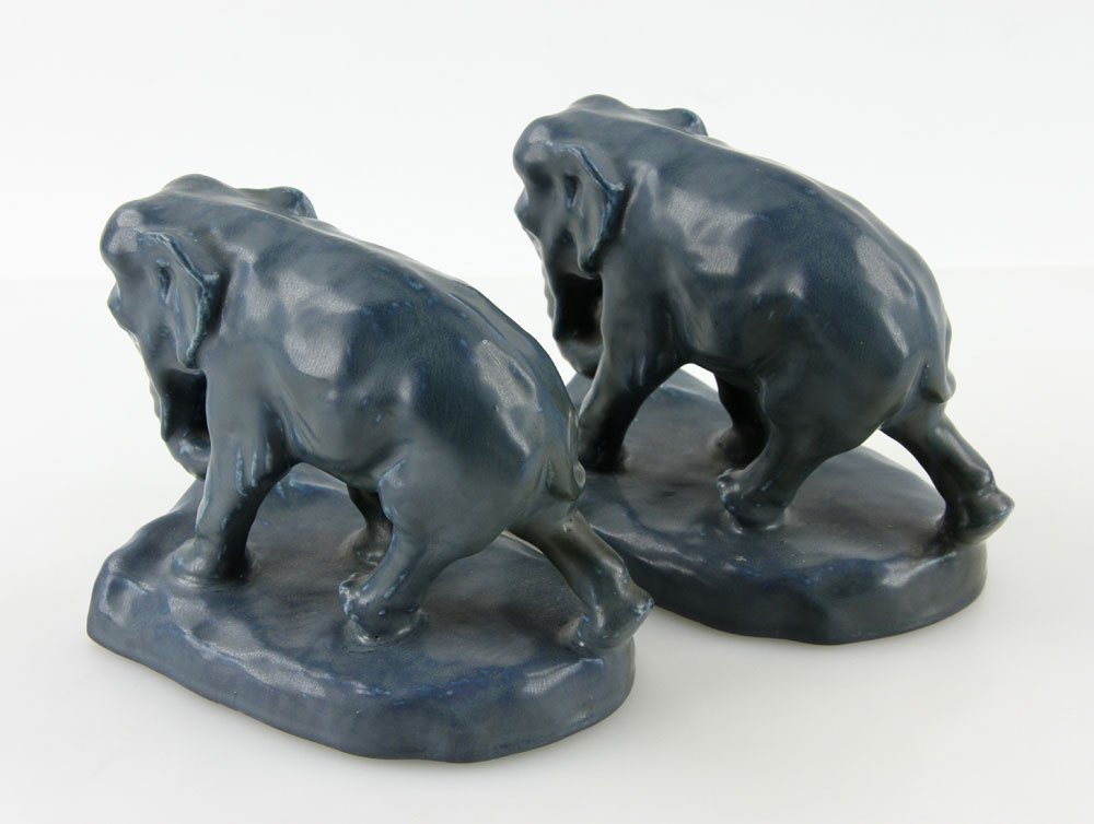 Pair Of  Rookwood Pottery Elephant Bookends - 4