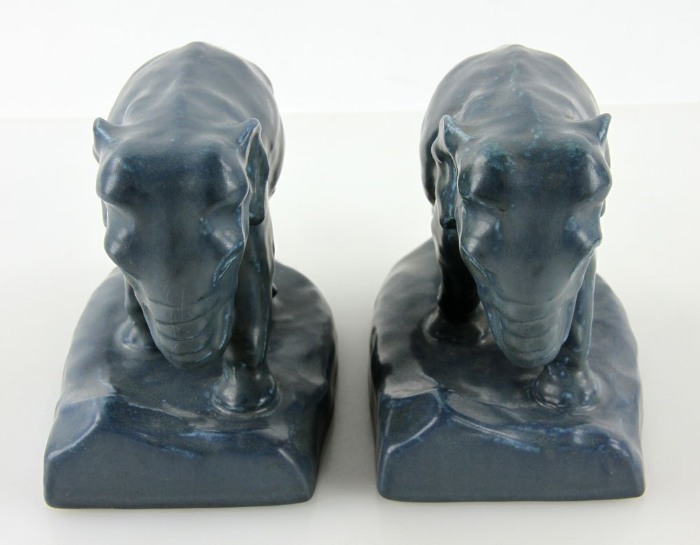 Pair Of  Rookwood Pottery Elephant Bookends - 5