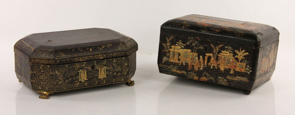 Two Chinese Decorated Wood Boxes