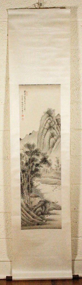 Qi Gong, Chinese Scroll Painting, Watercolor