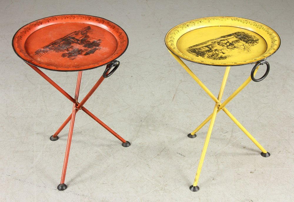 Two Italian Stenciled Brandy Tables