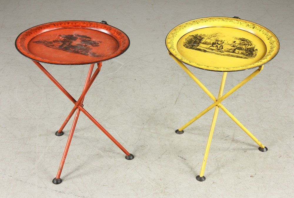 Two Italian Stenciled Brandy Tables - 2