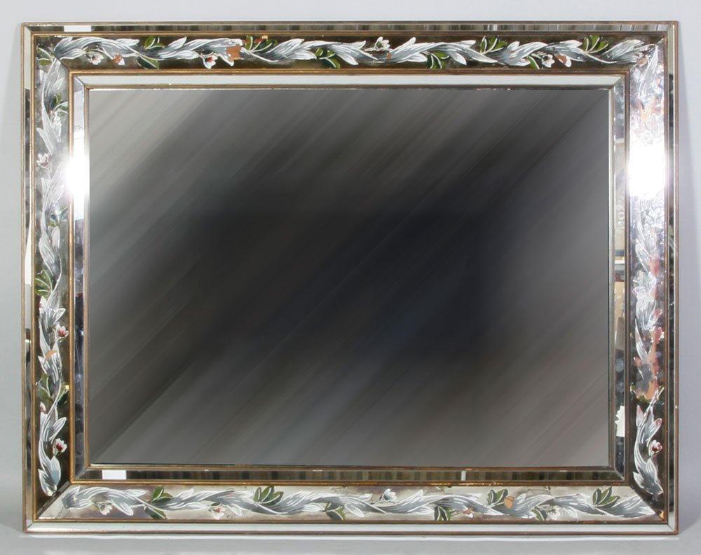 Mid 20th C. Reverse Painted Mirror