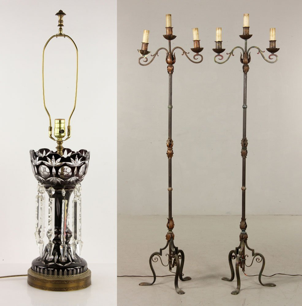 Cut Crystal Lamp and Pr. Iron Floor Lamps
