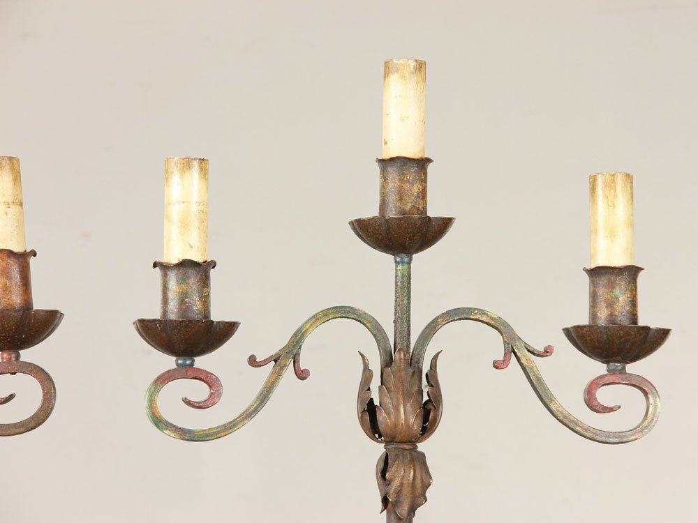 Cut Crystal Lamp and Pr. Iron Floor Lamps - 7