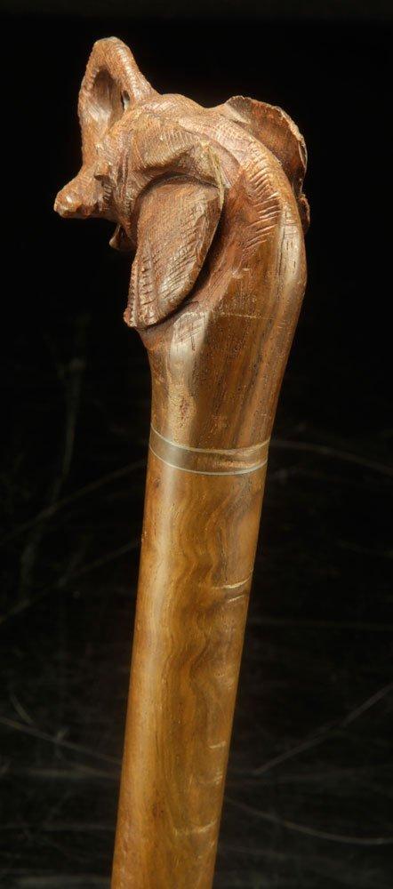 Elephant Form Carved Wood Cane - 5