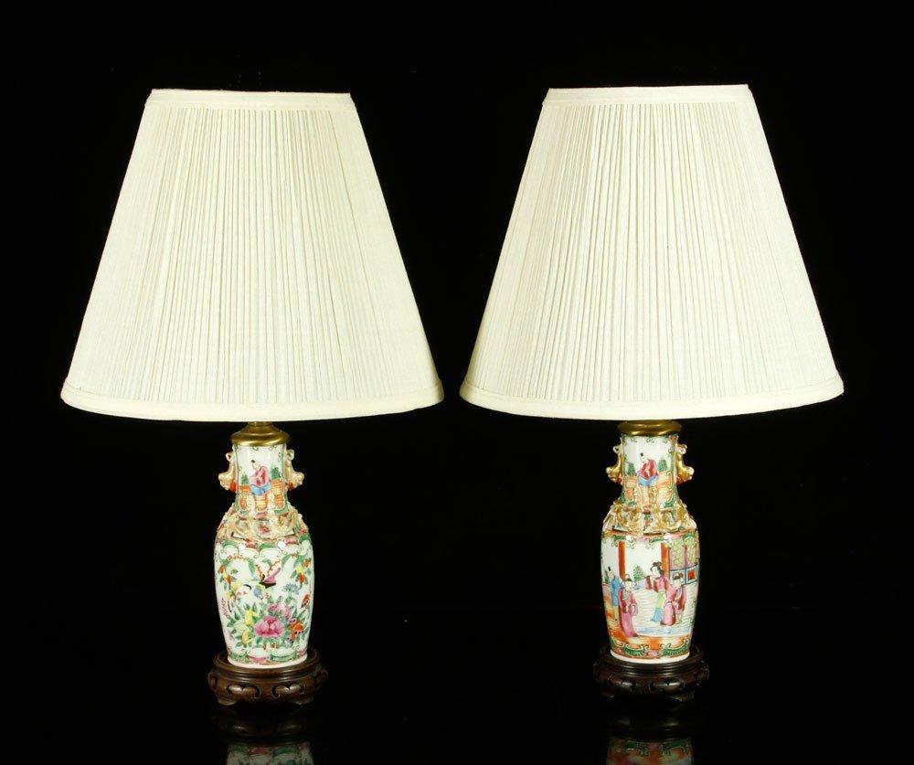 Pr. Chinese Rose Medallion Lamps