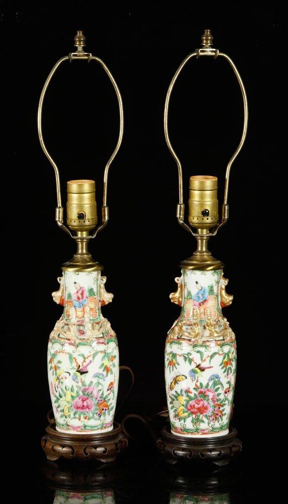 Pr. Chinese Rose Medallion Lamps - 2