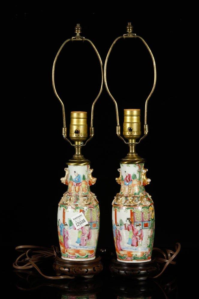 Pr. Chinese Rose Medallion Lamps - 3