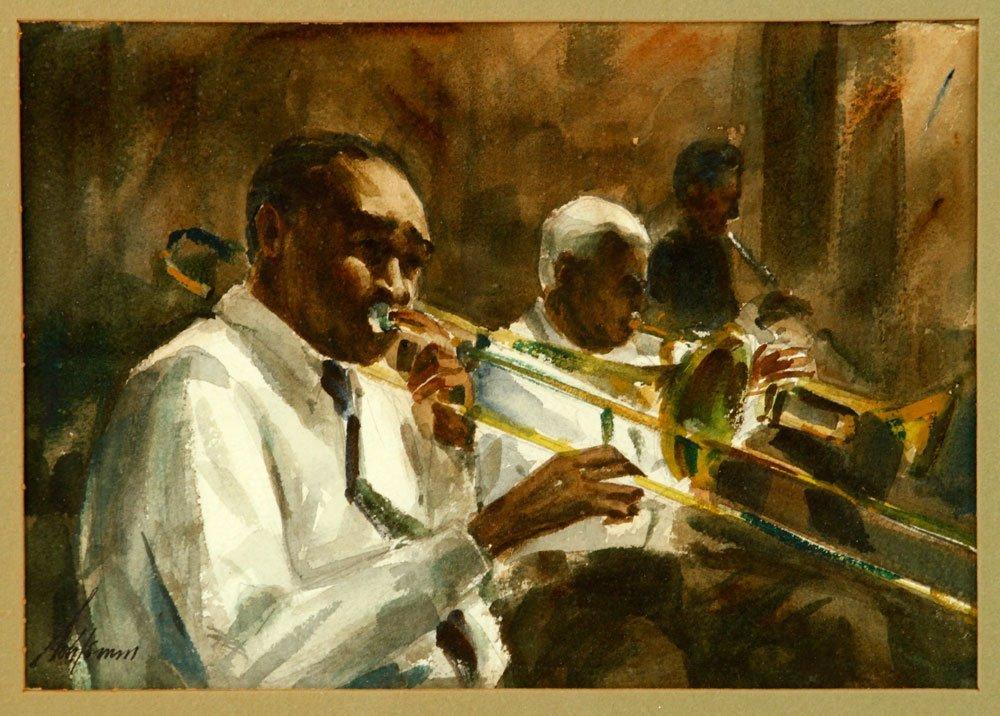 Schlemm, Trombonists, Watercolor - 2