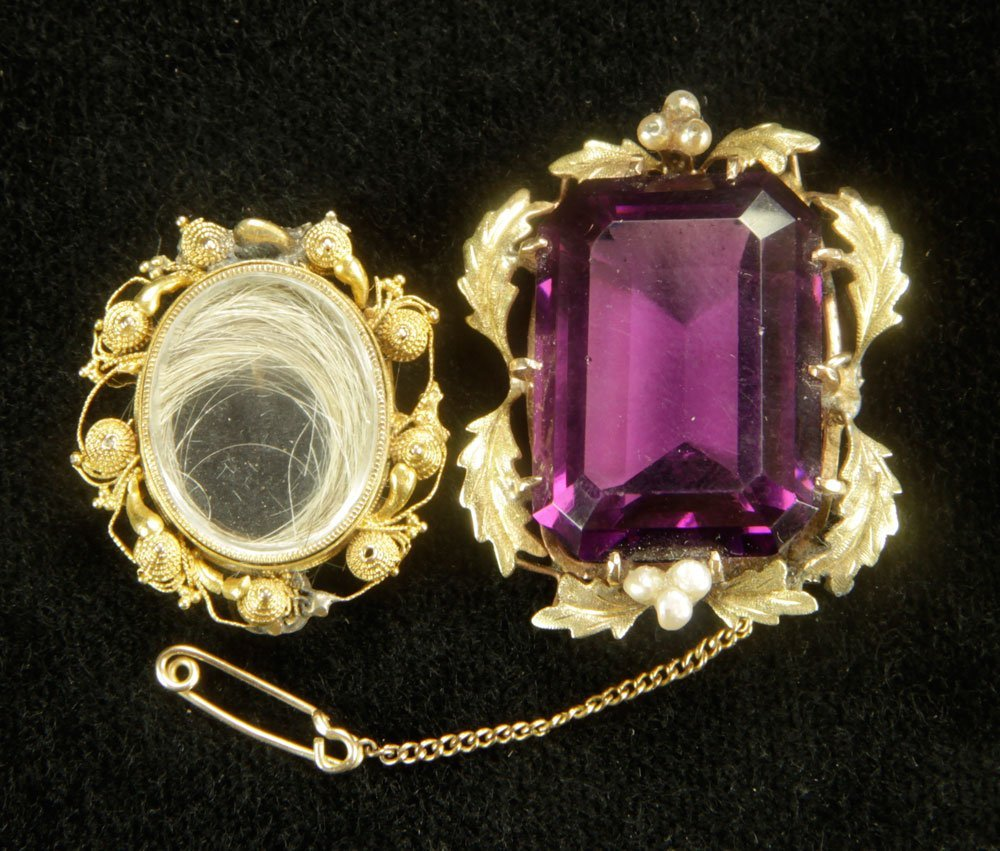 14K Gold and Amethyst Brooch with Locket