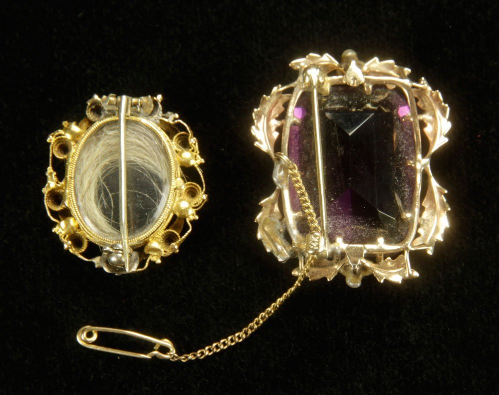 14K Gold and Amethyst Brooch with Locket - 2