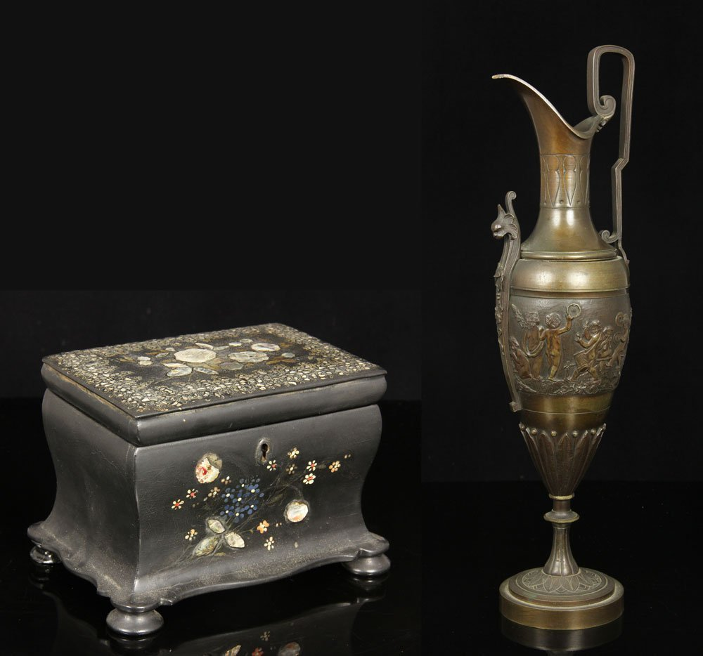 Tea Caddy and Bronze Roman Style Ewer