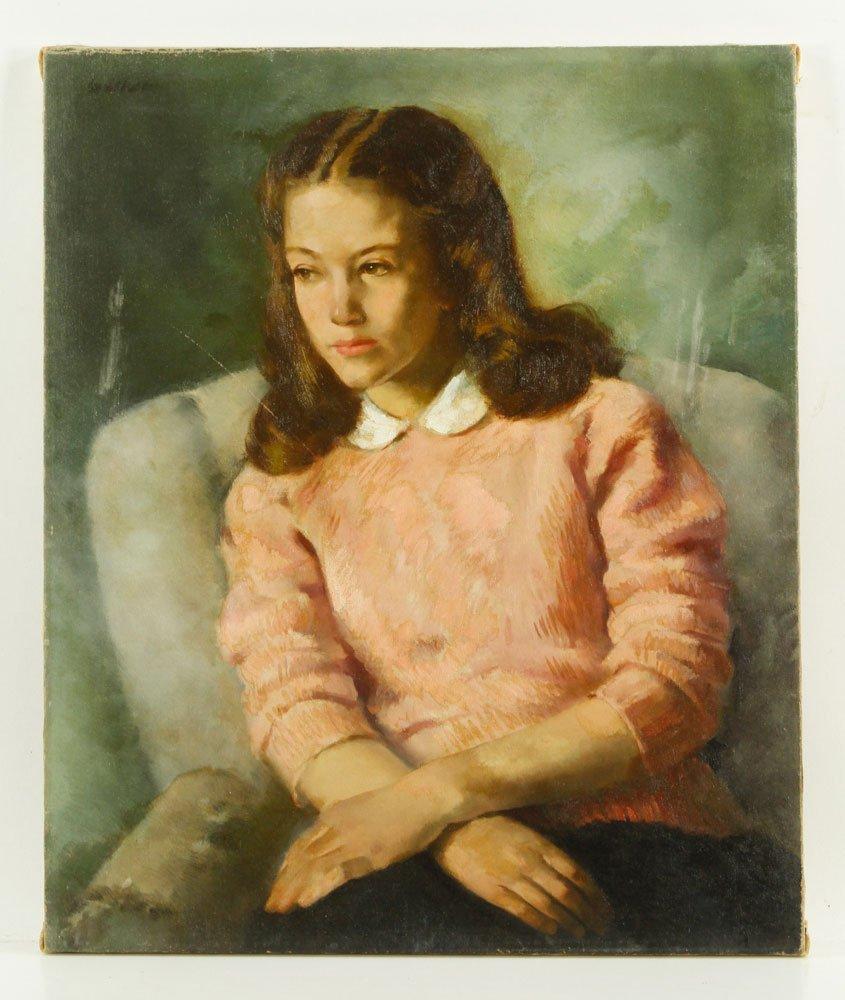 Walker, Portrait of Girl, Oil on Canvas