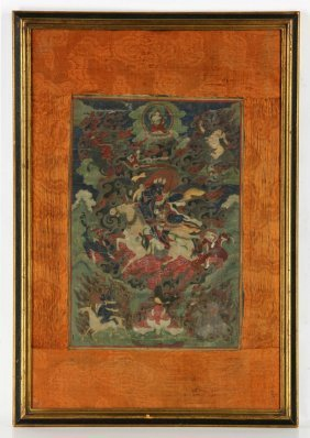 Early 19th C. Sino-tibetan Watercolor Thangka Painting