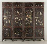 Late 19th-20th C. Chinese Lacquered Screen