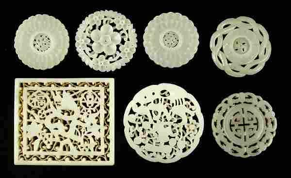 Seven Carved Jade Pendants