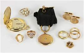 Assorted Yellow Gold Jewelry Grouping