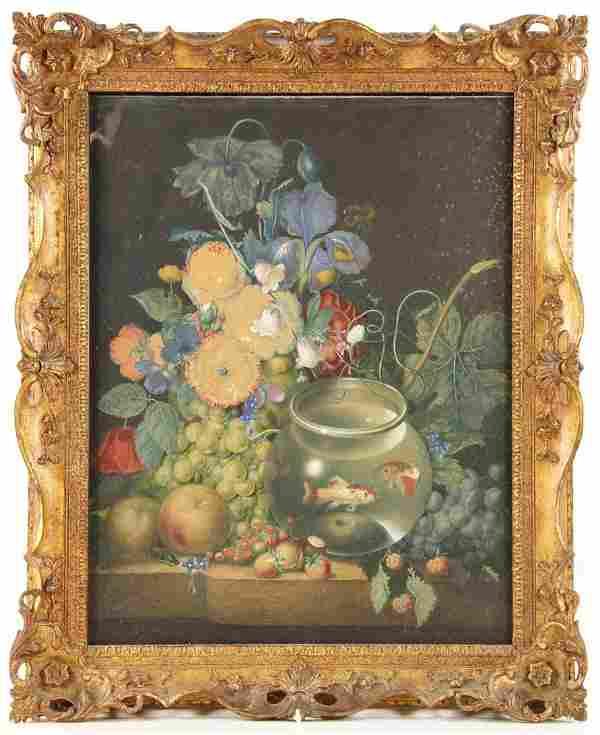 Attr. Roesen, Still Life, Pastel Watercolor