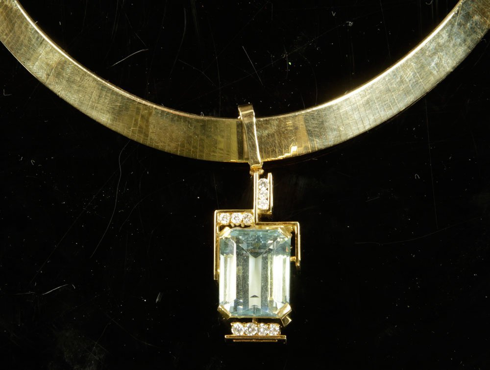 Gold, Diamond and Aquamarine Necklace with Pendant - 6