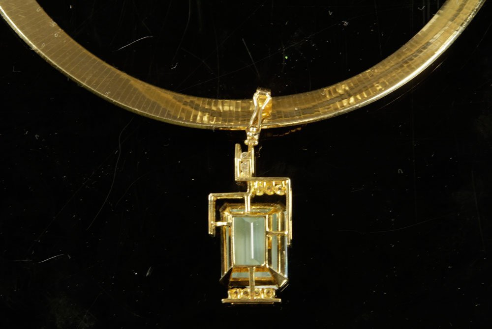 Gold, Diamond and Aquamarine Necklace with Pendant - 7