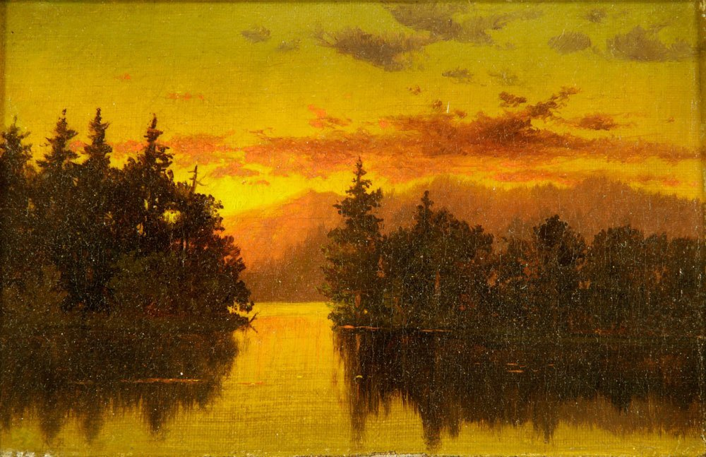 Blakelock, Sunset Landscape, Oil on Canvas - 4