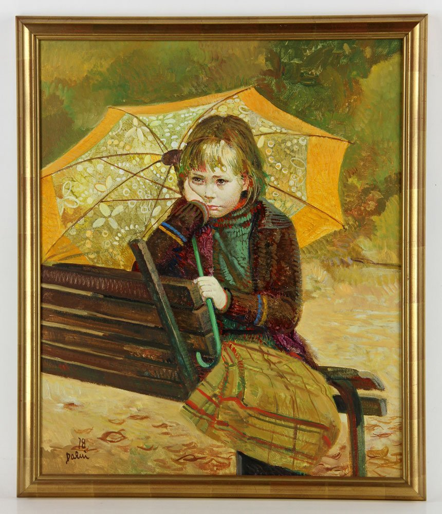 Daeni, Girl on a Bench, Oil on Canvas
