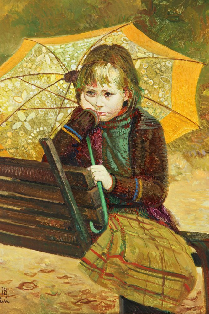 Daeni, Girl on a Bench, Oil on Canvas - 2