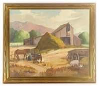 """Myers, """"The Feeding,"""" Oil on Canvas"""