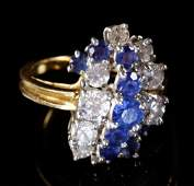 Ladies Diamond and Sapphire Cocktail Ring