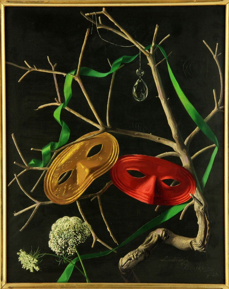 Bruckman, Two Masks, Oil on Canvas - 2