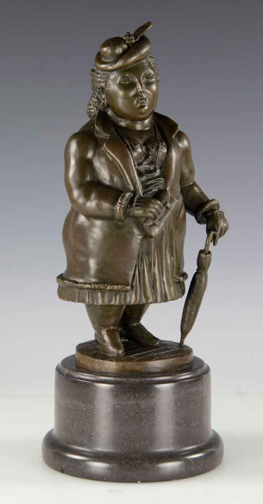 After Botero, Woman with Umbrella, Bronze