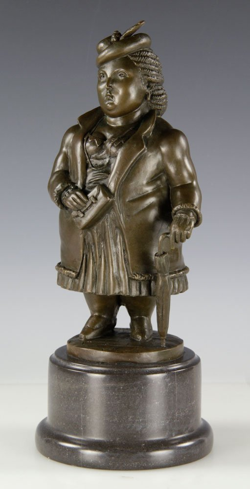 After Botero, Woman with Umbrella, Bronze - 2