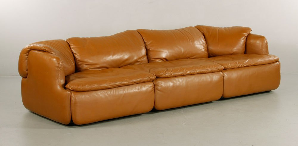 Alberto Rosselli for Saporiti Italia Leather Sofa