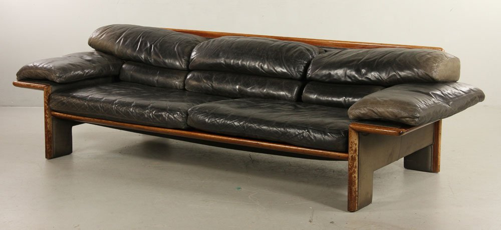 Mid-Century Modern Leather Sofa
