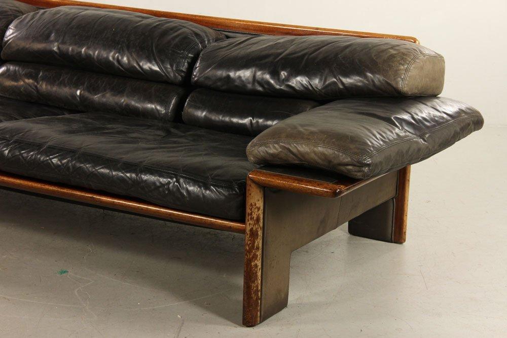 Mid-Century Modern Leather Sofa - 3
