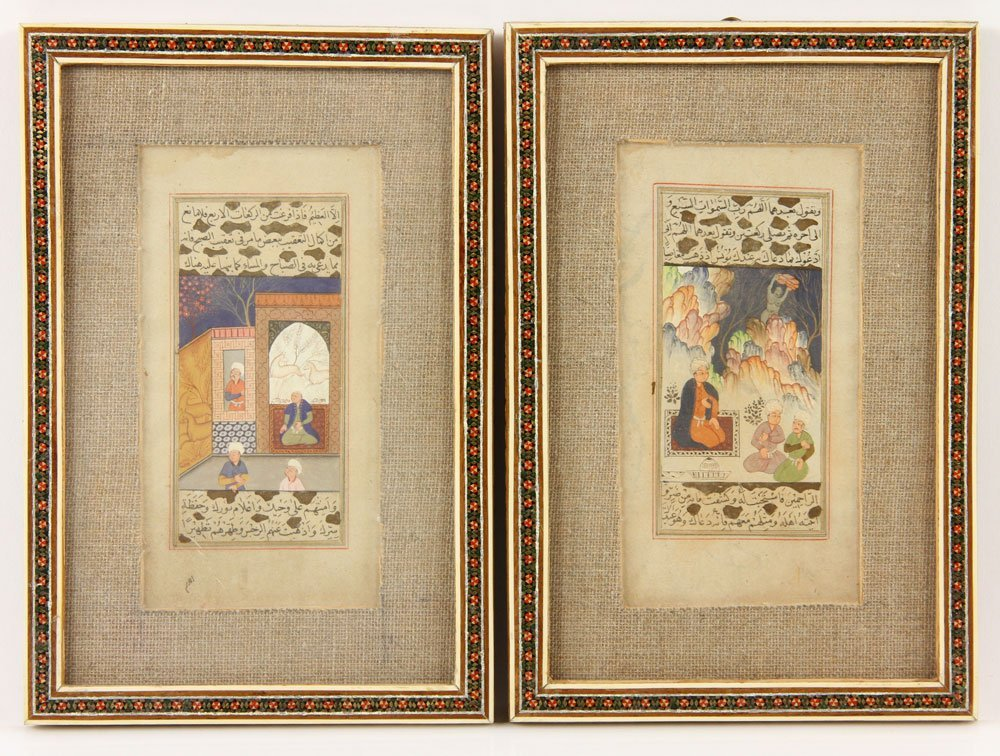 Two Persian Painted Manuscript Pages