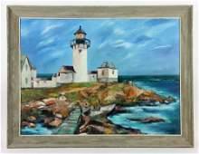 Stella New England Lighthouse Oil on Canvas