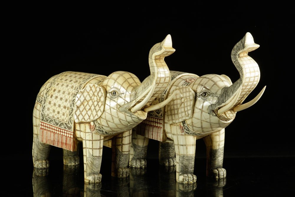 Pr. Carved Bone Elephants