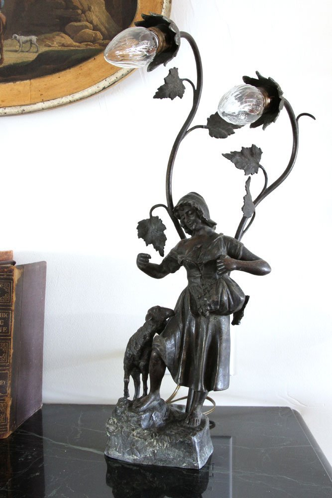 Pr. Figural Bronzed Lamps