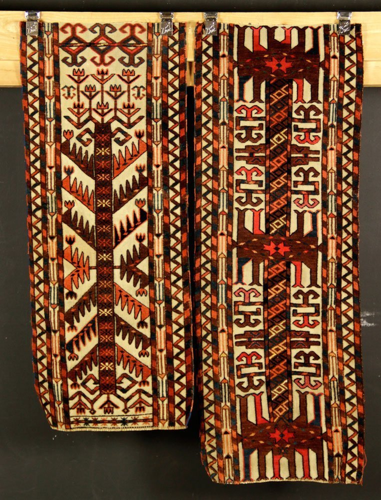 2 Antique Turkmen Carpet Fragments