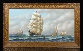 Jacobsen Clipper Ship Oil on Board