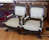 Pr. Gothic Victorian Mahogany Armchairs