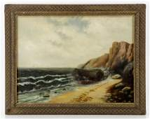 19th C. New England Coastal View, Oil on Canvas