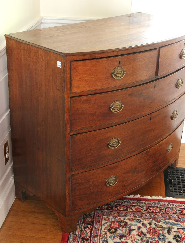 19th C. English Hepplewhite Style Bowfront Chest - 2