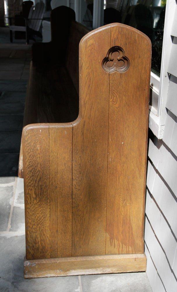Antique Oak Church Pew - 3