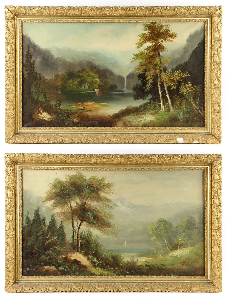 19th C. American School, 2 Landscapes, Oil on Canvas