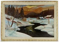 Baum, Winter River, Oil on Canvas